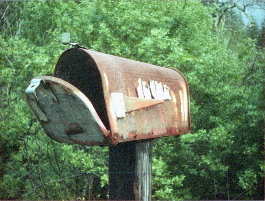 Empty Old Mailbox, North Bank Rogue River, Minolta AutoPAK 440E 110, Andrew D. Barron©12/20/10
