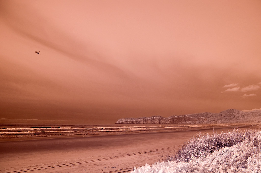 Infrared beach and chopper, Andrew D. Barron©11/20/11