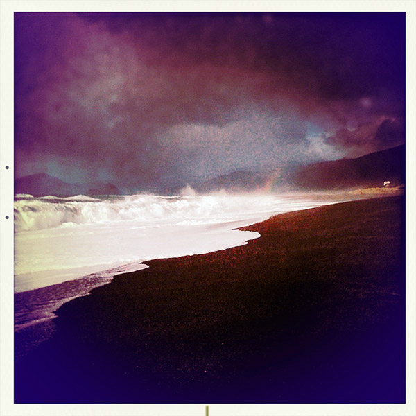Mid day beach walk and rainbow, Curry County, OR, Andrew D. Barron ©2/8/11