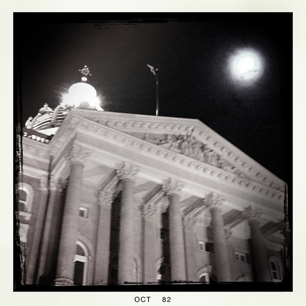Iowa capital building and moon, Des Moines, IA, Andrew D. Barron©10/28/12 [Iphone 3G, Hipstamatic 190]