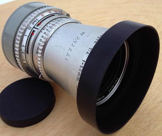 Aftermarket metal lens hood: fits!, Andrew D. Barron©12/29/12 [645 PRO for 4S]